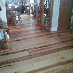 """Hand scraped solid hickory plank - 6"""" x 3/4"""" solid prefinished Old Americana Floors Handscraped hickory with WOCA UV oil finish. Handmade in the U.S.A."""