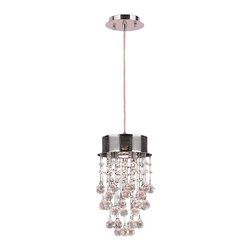 "Worldwide Lighting - Icicle 1 Light Chrome Finish and Clear Crystal Mini Pendant Light 8"" D x 14"" H - This stunning 1-light Crystal Pendant only uses the best quality material and workmanship ensuring a beautiful heirloom quality piece. Featuring a radiant chrome finish and finely cut premium grade clear crystals with a lead content of 30%, this elegant chandelier will give any room sparkle and glamour. Worldwide Lighting Corporation is a privately owned manufacturer of high quality crystal chandeliers, pendants, surface mounts, sconces and custom decorative lighting products for the residential, hospitality and commercial building markets. Our high quality crystals meet all standards of perfection, possessing lead oxide of 30% that is above industry standards and can be seen in prestigious homes, hotels, restaurants, casinos, and churches across the country. Our mission is to enhance your lighting needs with exceptional quality fixtures at a reasonable price."