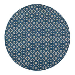 Safavieh - Courtyard Navy and Beige Round: 7 Ft. 10 In. x 7 Ft. 10 In. Rug - - Safavieh takes classic beauty outside of the home with the launch of their Courtyard Collection. Made in Turkey with enhanced polypropylene for extra durability these rugs are suitable for anywhere inside or outside of the house. To achieve more intricate and elaborate details in the designs Safavieh used a specially-developed sisal weave  - Pile Height: 0.25  - Construction: Machine Made  - Easy to Clean?Just sweep vacuum or rinse off with a garden hose. Safavieh - CY6919-268-8R