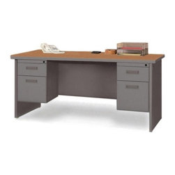 Lorell - Durable Double PedestalComputer Desk with Radius Edges - Office furniture is made of steel with a powder-coated textured finish for easy care. Durable laminate tops feature radius edges. Drawers and flipper doors glide on steel ball-bearings. Desk and credenza tops include 2'' grommets. Use the two grommets in each leg for cable connections between desks. Open shelves include wire channeling to desktop. Modular desking is Greenguard Indoor Air Quality Certified. Features: -Cherry Steel Laminate - Top.-Charcoal.-Grommet.-Lockable Drawer.-Double Pedestal Desk.-Ball-bearing Suspension.-Modesty Panel.-Leveling Glide.-Cord Management.-Durable.-Distressed: No.-Country of Manufacture: United States.Dimensions: -Dimensions: 72'' Width x 24'' Depth.-Overall Product Weight: 252 lbs.