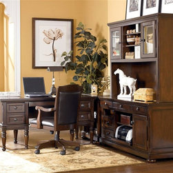 Signature Design by Ashley - 5 Pc Storage Leg Desk Set in Burnished Brown - Set includes Storage Leg Desk, Office Chair, Credenza, Corner Table, and Large Hutch. Made with select Cherry veneers and hardwood solids. Burnished Brown finish. Hardware is finished in a Dark Bronze color. Credenza features a pull out printer shelf, laptop tray and electrical charging station. Pull-out keyboard tray is covered with black PVC for durability. Some assembly required. Storage Leg Desk: Assembly Instructions. Office Chair: Assembly Instructions. Credenza and Hutch: Assembly Instructions. Corner Table: Assembly Instructions. Storage Leg Desk: 60 in. W x 30 in. D x 30 in. H. Office Chair: 24 in. W x 23 in. D x 40 in. H. Credenza: 60 in. W x 22 in. D x 30 in. H. Corner Table: 28 in. W x 22 in. D x 30 in. H. Large Hutch: 60 in. W x 16 in. D x 45 in. H