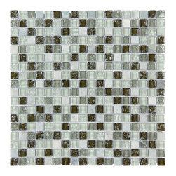 Stone & Co - Stone & Co Mosaic Glass and Stone Mix 5/8 x 5/8 Glass Mosaic Tile Mag 008 SQ - Finish: Polished / Shiny