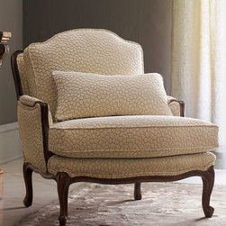 "Massoud - ""Bespeckled Bergere"" Chair - ""Bespeckled Bergere"" ChairThis lovely Bergere chair with neutral upholstery is designed to fit beautifully in with almost any decor.  You'll love the raised texture of it's ivory fabric.  It is unique and perfect for added interest in a room.33""W x 38""D x 37""T with a 19"" seat height."