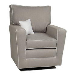 Little Castle - Little Castle's Countess Pebble Grey Swivel Glider - Designed specifically for new mothers,the Countess Swivel Glider was designed for maximum comfort. Constructed with a beautiful pebble grey upholstery,this chair is completed by white welt cord.