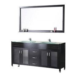 "Design Element - Design Element DEC016A Waterfall 60"" Double Sink Vanity Set in Espresso - Design Element DEC016A Waterfall 60"" Double Sink Vanity Set in Espresso"