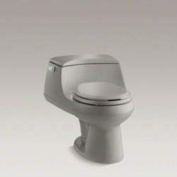 KOHLER - KOHLER San Raphael(R) one-piece round-front 1.6 gpf toilet with Ingenium(R) flus - This San Raphael toilet's modern, low-profile design adds elegance to your bathroom environment. Creating a strong siphon with every flush, this toilet delivers powerful, reliable performance at 1.6 gallons per flush. The round-front bowl saves space in y
