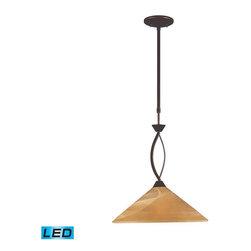 Elk Lighting - Elk Lighting 6550/1-LED Elysburg Modern Pendant Light in Aged Bronze - Elk Lighting 6550/1-LED Elysburg Modern Pendant Light in Aged Bronze