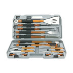 Mr Bar B Q - 18-Piece Stainless Steel Grill Tool Set - Mr, Bar-B-Q 18-Piece Gourmet Stainless Steel Tool Set with wood handles includes 4-in-1 spatula, tongs, fork, knife, basting brush, grill brush, 8 corn holders, 4 steak knives and plastic case.  Stainless Steel tools with rubber grip handle.  Durable plastic case for carrying and storing tools.
