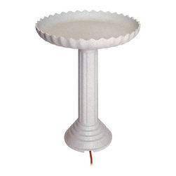 Farm Innovators - Scalloped Birdbath and Pedestal Combo - Keep water from freezing all winter long with this Decorative Heated Birdbath and Pedestal Combo. The birdbath has a 120 watt thermostatically controlled heater built in.