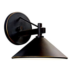 KICHLER - KICHLER 49059OZ Ripley Lodge/Country/Rustic/Garden Outdoor Wall Sconce - Bringing clean lines to a rustic look, the Ripley collection of outdoor lighting features an Olde Bronze finish that warms the smooth cone shape of this 1 light outdoor sconce. Uses 1 - 40W max (type R) or 1 - 60W (G type) bulb. UL listed for wet locations. Dark sky compliant with use of R14 40W bulb.