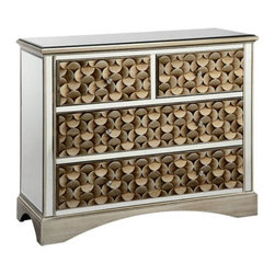 Stein World - Stein World 12443 Savona 3-Drawer Mirrored Chest - 12443 - Shop for Dressers from Hayneedle.com! A hand-painted gold geometric pattern on the drawer fronts gives the Stein World 12443 Savona 3-Drawer Mirrored Chest a dramatic attention-grabbing look. This lovely chest is built from durable birch wood with mirrored glass panels adding extra depth.About Stein WorldStein World is dedicated to discovering and bringing to the market place the finest hand-painted products from around the world. With over 50 years of experience they have been able to develop not only the resources but true partnerships with quality manufacturers and artisans who make Stein World unique in the furniture industry today. Their commitment to you is to present only the highest quality furniture at prices that bring future family heirlooms into everyone's price range.
