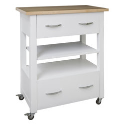 Hardware Resources - White Elements Island Cart with preassembled wood top Painted White - This 30 x 18 x 36  island is manufactured out of MDF.  This small island cart features two working drawers and an adjustable center shelf.  The drawers are equipped with full extension slides.  Wood top preassembled.  Soft rubber casters included.  The included decorative hardware can be found in the Elements Belfast Collection (308 128).