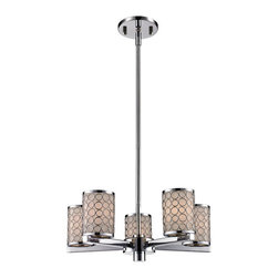 Z-Lite - 5 Light Up Light Chandelier - From Z-Lite's Synergy Collection, featuring a metal frame, glass shade and modern lines highlight this five light chandelier from the Synergy Collection.