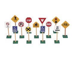 """Guidecraft - Guidecraft Hardwood 7"""" Traffic Signs (Set of 13) - Guidecraft - Educational Toys - G309 - This set teaches sign recognition at an early age. While increasing children's fun with block play."""
