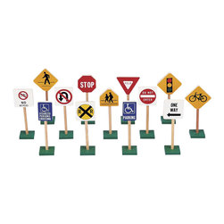 "Guidecraft - Guidecraft Hardwood 7"" Traffic Signs (Set of 13) - Guidecraft - Educational Toys - G309 - This set teaches sign recognition at an early age. While increasing children's fun with block play."