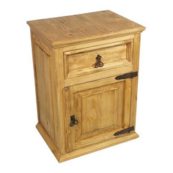 Mexican Pine Nightstand - 1 Drawer & 1 Door - This rustic pine nightstand brings the southwest to your bedroom decor with it's rustic look and rustic iron hardware. Shipping included.