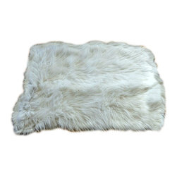 Fur Accents - Traditional Shaggy Faux Fur Area Rug, Warm Off White, Random Rectangle, 8x10 - A Truly Beautiful Faux Fur Accent Rug. Rich and Shaggy Warm White Faux Animal Pelt Area Carpet. Random Rectangle Design. Made from 100% Animal Free and Eco Friendly Fibers. Perfect for any room in the house! Try it in the Winter Lodge, Log Cabin or Family Great Room. Spread out in front of the Hearth or warm up the sitting room. A Classic but Simple Design, Tastefully lined with real Parchment Ultra Suede. Luxury, Quality and Unique Style for the discriminating Designer/ Decorator.
