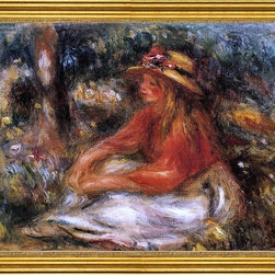 "Pierre Auguste Renoir-16""x24"" Framed Canvas - 16"" x 24"" Pierre Auguste Renoir Young Woman Seated on the Grass framed premium canvas print reproduced to meet museum quality standards. Our museum quality canvas prints are produced using high-precision print technology for a more accurate reproduction printed on high quality canvas with fade-resistant, archival inks. Our progressive business model allows us to offer works of art to you at the best wholesale pricing, significantly less than art gallery prices, affordable to all. This artwork is hand stretched onto wooden stretcher bars, then mounted into our 3"" wide gold finish frame with black panel by one of our expert framers. Our framed canvas print comes with hardware, ready to hang on your wall.  We present a comprehensive collection of exceptional canvas art reproductions by Pierre Auguste Renoir."