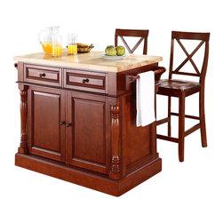 Crosley Furniture - Crosley Oxford Butcher Block Top Kitchen Island with Stools in Cherry - Crosley Furniture - Kitchen Carts - KF300063CH