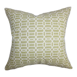 """The Pillow Collection - Rahim Geometric Pillow Green White - Reinvent your home in time for the warm season by adding this plush accent pillow. This 100% cotton-made decor pillow lends comfort and style to your living space. The square pillow features a unique geometric pattern in white and set against a solid green fabric. Add dimension and texture to your living room or bedroom with this 18"""" pillow. Hidden zipper closure for easy cover removal.  Knife edge finish on all four sides.  Reversible pillow with the same fabric on the back side.  Spot cleaning suggested."""