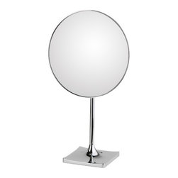 "WS Bath Collections - Discololed Free Standing Magnifying Cosmetic Mirror - Features: -Mirror Pure collection. -Free standing magnifying cosmetic mirror. -Free standing. -External power supply with plug. -Features LED lighting. -Chromed plated brass structure and chromed plated abs frame. -Distortion free. -Made in Italy. Specifications: -Manufacture provides one year warranty. -9.1"" Dia. x 16.2"" ."
