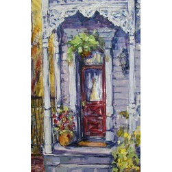 Rosey Lace (Original) by Domi Williams - This is a memory of one of those lovely gingerbread porches in New Orleans .