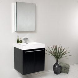 Fresca - Fresca Alto Black Modern Bathroom Vanity w/ Medicine Cabinet - The simplistic Alto vanity is a streamlined modern approach to bathroom storage. Featuring a Black finish and a wall mounted design, the single faucet unit contains two drawers for keeping toiletries neatly hidden away from view. The Alto vanity comes complete with a medicine cabinet, which can fit either wall mounted or recessed. Alto Modern Bathroom Vanity Details:   Dimensions: Vanity: 22.5W x 18.25D x 25H, Medicine Cabinet:19.5W x 26H x 5D Material: MDF with Acrylic Countertop/Sink with Overflow Soft closing doors Finish: Black Single hole faucet mount Please note: faucet not included Includes medicine cabinet