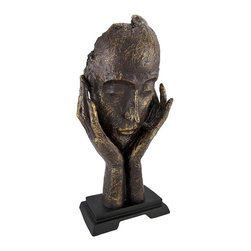 Bronzed Abstract Meditator Sculpture 16 In. - This hand crafted sculpture is an inspirational accent to your home or office. It features an abstract image of a peaceful meditator, and may encourage those who view it to take a deep breath and clear their minds. This piece is made of cold cast resin, measures 16 inches tall, 8 inches wide, 7 inches deep, and has a bronzed finish that is highlighted by golden accents. It looks lovely on bookcases, shelves, tables and desks, and makes a wonderful gift.