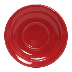 Tuxton - TuxCare 5 1/2 inch Nevada Saucer Narrow Rim Cayenne - Case of 36 - Our plates and dishes are designed to combine with insulated domes bases and other innovative food systems for extended heat retention. The Nevada collection presents a simplicity suited to many different styles of foodservice venues. The ability to accessorize with other items makes this dinnerware line invaluable.