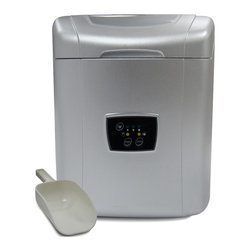 Vinotemp - Portable Ice Maker w Touch Controls - Portable and tabletop design. Ice making capacity: approximately 26 lbs/day. Ice storing capacity: approximately 1.8 lbs. Includes ice scoop. 12 in. W x 15 in. D x 15 in. H (27.5 lbs.). WarrantyWith Portable Ice Maker you can always have ice ready for the party. Just add water, choose from 3 different ice cube sizes, and go; ice is ready in as little as 7 minutes! If the storage bin is full, the ice maker will automatically stop to prevent over-filling.