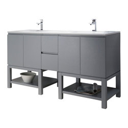 Inolav - Emmet 72 Double Vanity, Metal Gray, White Sink, White Quartz Countertop - The Emmet collection is a celebration of modern and elegant design. The open shelf will transform an ordinary bathroom into your own personal everyday spa. It features an abundance of soft close drawers to keep those small toiletries handy. Add chic style to your home with the sleek look of the Emmet collection.