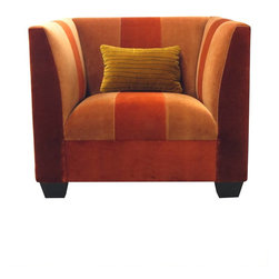Madera Home - Orange and Yellow Velvet Club Chair - This cosy velvet club chair has a sumptuous urban lodge feel and was designed by the celebrated textile artist, Veronese Bellarte. Cuddle up with a book and use it to warm up your living room.