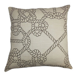 The Pillow Collection - Accalia Coastal Pillow Natural Black - Reinvent your decor style by propping up this throw pillow. This accent pillow features a coastal-inspired pattern in black against a natural background. This square pillow is ideal for your sofa, bed or seat and easily coordinate with other patterns. Made from a blend of 95% cotton and 5% linen fabric. Hidden zipper closure for easy cover removal.  Knife edge finish on all four sides.  Reversible pillow with the same fabric on the back side.  Spot cleaning suggested.