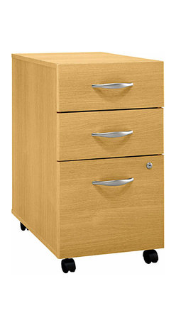 Bush Business - Three-Drawer File Cabinet in Light Oak - Seri - The Light Oak Series C Three Drawer Mobile File conveniently rolls under any Series C desk shell on heavy-duty dual casters.  This solidly built file features fully finished drawer interiors and uses a single lock to secure the bottom two drawers.  Smooth fronted three-drawer file cabinet is a stylish addition to any home or office decor.  Light oak finish adds a bright and clean look to contemporary or traditional spaces.  This item is constructed to provide year after year of enjoyment. * Rolls under any Series C desk shell. File drawer holds letter, legal or A4 files. Fully finished drawer interiors. File drawer extends on full extension, ball-bearing slides. One lock secures bottom two drawers. Ships ready for easy assembly. 15.709 in. W x 20.276 in. D x 28.110 in. H