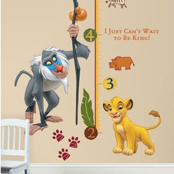 Roommates Decor - The Lion King Rafiki Giant Peel & Stick Growth Chart - I just can't wait to be king! Bring home the magic of Disney's The Lion King with this interactive growth chart. You can easily measure your little one's growth with these removable and repositionable wall decals. Each set includes Simba, Rafiki, and all the pieces you need to build your very own growth chart. Applies easily to any smooth surface and removes without damage or any sticky residue. Easy to move and reuse anywhere you please!