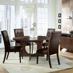 """Somerton - Manhattan 5 Piece  Dining Set - Features: -Set includes pedestal table and four side chairs. -Manhattan collection. -With Bicast Chairs. -Brown finish. -Round Shape. -Constructed of hardwood solids with walnut veneers. -It features a flush-top lazy susan with a stop mechanism to match the grain pattern. -Base is accented by four oval cut-out openings. -Chair has rich brown bi-cast leather and spot clean upholstery. -General conformity certified. -Cleaning: use dry/damp cloth; do not use oil based cleaners. -Manufacturer provides one year limited warranty. Natural variations in the color and texture of the wood are not considered defects and are not covered by warranty. Also, fine hairline cracks are part of the normal aging process of wood veneers and are also not defects covered by this warranty. -Chair weight listed is for two chairs. Dimensions: -Dining Table: 30"""" H x 56"""" W x 56"""" D. -Parsons Chair: 42"""" H x 20"""" W x 24"""" D. -Server: 33.625"""" H x 57.25"""" W x 19"""" D."""