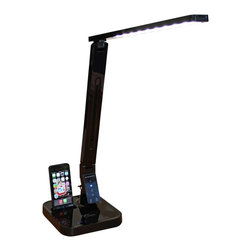 "Lamps Plus - Contemporary Euri Black Dimmable LED Desk Lamp with iPhone 5 Dock - Multi-function LED desk lamp with iPhone 5 and iPod Touch 5 docking port. Sleek black finish. Durable molded plastic construction. 9-step dimming slide touch control. Anti-glare design; 80 CRI. 180 degree axis rotation. 40 degree parallel arm adjustment. 140 degree lamp head adjustment. Smart control panel offers 4 light spectrum color temperature modes - read mode (4500K - 5500K); study mode (5500K - 6700K); relax mode (2700K - 3700K); sleep mode (2700K - 3300K). Built-in USB port for charging all smart phones. Includes integrated LED modules (11 watts total). 1-year limited manufacturer's warranty. 18"" high (at full extension). 7 3/4"" wide. 7 3/4"" deep.  Multi-function LED desk lamp with iPhone 5 and iPod Touch 5 docking port.  Sleek black finish.  Durable molded plastic construction.  9-step dimming slide touch control.  Anti-glare design; 80 CRI.  180 degree axis rotation.  40 degree parallel arm adjustment.  140 degree lamp head adjustment.  Smart control panel offers 4 light spectrum color temperature modes - read mode (4500K - 5500K); study mode (5500K - 6700K); relax mode (2700K - 3700K); sleep mode (2700K - 3300K).  Built-in USB port for charging all smart phones.  Includes integrated LED modules (11 watts total).  1-year limited manufacturer's warranty.  18"" high (at full extension).  7 3/4"" wide.  7 3/4"" deep."