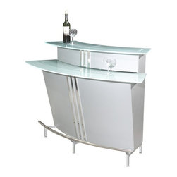 Chintaly - Broadway Bar in Silver - This Two Tiered Bar is stylish and contemporary with its curved design. Shelves and racks make it easy to store bottles and glasses inside the bar. Beautiful chrome accents and stainless steel footrest. It has 3 built-in shelves. The top shelf is equipped with a wire rack designed to store your stemware. This fabulous contemporary look will be the highlight at your next gathering. Features: -Contemporary Style. -Finished in Silver. -With Glass Top, Shelf. What's included: -Home Bar Top (1). -Bar Body (1). -Bar Base (1).