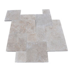 """French Pattern Walnut Travertine Pavers - Tumbled - Travertine Mart's PREMIUM SELECT Tumbled French Pattern Walnut Travertine Pavers are light brown in color - one shade darker than our Ivory Travertine Pavers. Although some variation in color is to be expected, it is overall very consistent throughout. Our most popular product. Walnut Travertine French pattern consists of 8x8, 8x16, 16x16, 16x24 sizes. 1.25"""" thick."""