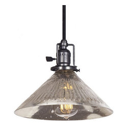 JVI Designs - Union Square Gun Metal Pendant w/ 10-Inch Antique Mercury Ribbed Glass Shade - - 5? of Cable   - Mouth-blown glass shade  - Bulb not included JVI Designs - BKIT-1200-18-S2-SR