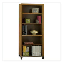 Bush - Bush Achieve 5-Shelf Bookcase with Adjustable Shelves in Warm Oak - Bush - Bookcases - PR67365 - Expand your Achieve Collection office suite with this matching bookcase. The bookcase features 2 fixed shelves and 3 adjustable shelves. Offered in Warm Oak finish.