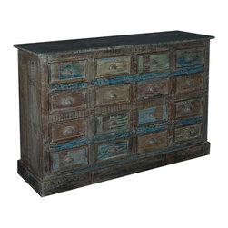 "Sierra Living Concepts - Midnight Shadow Reclaimed Wood 16 Pillbox Drawer Dresser - Now organization will be a snap with our 57"" long Midnight Shadow Pillbox Chest of Drawers."