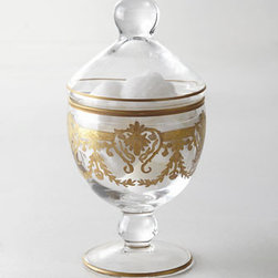 """Horchow - Louvre Footed Bowl with Lid - Combining influences of two cultures, these vanity accessories display an abundance of European elegance. Made in Italy of clear glass embellished with 24-kt. gold painted designs. Pedestal soap dish, 5""""Dia. x 3.5""""T. Tissue box cover, 5""""Sq. x 6""""T. ...."""