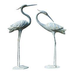 """SPI - Elegant Pair of Heron in Verdi Aluminum - -Size: 37.5"""" H x 18"""" W x 7.5"""" D"""