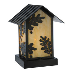 "Meyda Lighting - Meyda Lighting 10.5"" W Seneca Oak Leaf Pier Mount - The Natural Beauty Of Oak Leaves Adorn This Charming Outdoor Fixture Featuring Beige Opalescent Art Glass And A Leaf Design An A-Frame Hand"