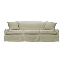 Emory Skirted Sofa - This sofa looks inviting, and I think it's the slipcover skirt that makes it look so welcome. I can picture myself just lying across it or piling it up with blankets and pillows for movie watching.