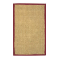 Mandara - Hand-Woven Mandara Red Border Rug (8' x 10') - With its natural seagrass construction and elegant red border,this beautiful handwoven rug enhances your home décor without overpowering the space. The tan rug has a 0.375-inch pile and a rubber mat,so it fits easily under furniture.