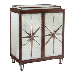 John Richard - John Richard Starburst Two Door Cabinet EUR-04-0182 - This footed cabinet has two silver patinated stars applied to the eglomise mirrored doors. The stepped top and ends are inset with eglomise panels.