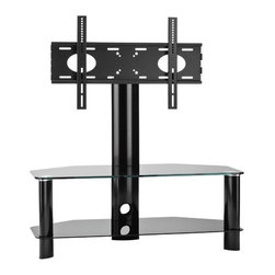"""OmniMount - Modena Flat Panel TV Stand - Features: -Modena 37FP can be displayed in three different variations.-Offering you the flexibility you need as your home theater evolves.-Uniquely designed to be used as a flat panel floor stand, or separate video table and mount.-Ideal for corners or flat against a wall.-Pans 30 degrees left and right to adjust viewing angle (when used as flat panel floor stand).-Low 1.5'' mounting profile (when used as separate wall mount).-Lift 'n Lock allows you to easily attach your flat panel to the mount.-Open area shelves accommodate multiple components.-Neatly route and organize wires through cable management post.-Locking system secures panel to mount.-Plastic feet protect floors.-Fits most 26'' to 37'' flat panels up to 80 lbs.-Universal and Vesas compliant: 100 x 100 to 300 x 400.-8 mm Tempered glass top shelf supports up to 80 lbs.-Two 6 mm tempered glass component shelves supports up to 50 lbs.-Includes universal adapter for greater panel compatibility.-Color: Black with black glass.-Modena collection.-Recommended TV Type: Flat.-TV Size Accommodated (Size: 50""""): 55"""".-TV Size Accommodated (Size: 41""""): 47"""".-TV Size Accommodated (Size: 28""""): 37"""".-Finish: Black.-Powder Coated Finish: No.-Gloss Finish: Yes.-Material: Metal and glass.-Solid Wood Construction: No.-Distressed: No.-Exterior Shelves: Yes -Number of Exterior Shelves (28"""") : 2.-Number of Exterior Shelves (41"""") : 1.-Number of Exterior Shelves (50"""") : 1.-Adjustable Exterior Shelves: No..-Drawers: No.-Cabinets: No.-Scratch Resistant: No.-Hardware Finish: Black Paint.-Casters: No.-Accommodates Fireplace: No.-Fireplace Included: No.-Lighted: No.-Media Player Storage: No.-Media Storage: No.-Cable Management: Yes, along the back TV support.-Number of Outlets: 0.-Remote Control Included: No.-Batteries Required: No.-Weight Capacity (Size: 50""""): 125 lbs.-Weight Capacity (Size: 41""""): 110 lbs.-Weight Capacity (Size: 28""""): 80 lbs.-Swatch Available: No.-Commercial Use: No.-Collection: M"""