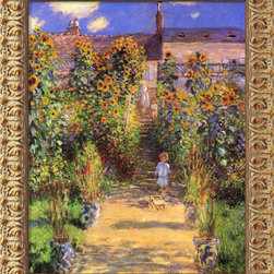 Amanti Art - The Artist's Garden at Vetheuil, 1880 by Claude Monet - Led down the garden path — yep, you've been fooled. This utterly charming image only looks like the original. In fact, the inks and canvas are archival quality; the frame is deeply carved and etched with an acid wash and antique gold finish to resemble museum quality framing.
